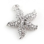 Silver Crystal Starfish - (2 Charms)