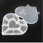 13mm 9-Compartment Plastic Heart Bead Container