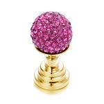 Gold Hot Pink Crushed Crystal Toppers  - (Sold Individually)