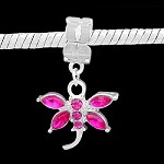 Hot Pink Crystal Dragonfly - (3 Beads)