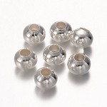 8mm silver-Plated Round Spacers - (20 Beads)