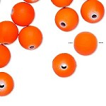 14mm Hot Orange Rubberized Round - (10 Beads)