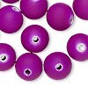 14mm Hot Purple Rubberized Round - (10 Beads)