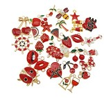 Mixed Red & White Charms - (10 Charms)