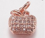 9mm Small Rosegold Crystal Apple Charm