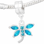 Turquoise Crystal Dragonfly - (3 Beads)