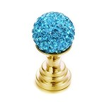 Turquoise Crushed Crystal Gold Toppers  - (Sold Individually)