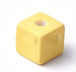 15mm Acrylic Yellow Cubes - (5 Beads)