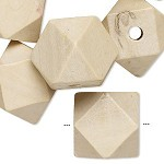 20mm Bleached Wood Faceted Cube - (3 Beads) CLEARANCE