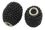 20mm Black Beaded Bead  - (3 Beads)