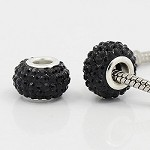 12mm Black Crystal - (3 Beads)