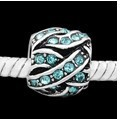 Criss Cross Crystal Turquoise - (3 Beads)