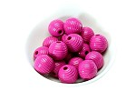 18x19mm Painted Acrylic Ribbed Fuchsia Barrel - (9 Beads)