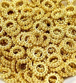 9mm Gold-Plated Dotted Rondelle - (10 Beads)