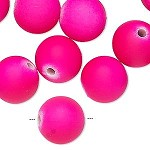 14mm Hot Pink Rubberized Round - (10 Beads)