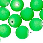 14mm Neon Green Rubberized Round - (10 Beads)