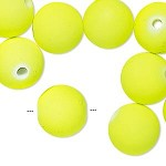 14mm Neon Yllow Rubberized Round - (10 Beads)