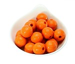 18x19mm Painted Acrylic Ribbed Orange  Barrels - (9 Beads per Package)