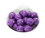 Acrylic Ribbed Purple  Barrels - (9 Beads)