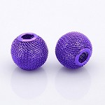 14mm Purple  Mesh Round Bead  - (4 Bead per Package)