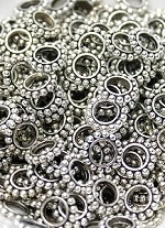 9mm Silver-Plated Dotted Rondelle - (10 Beads)