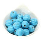 18x19mm Painted Acrylic Ribbed Turquoise  Barrels - (9 Beads per Package)