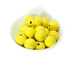 18x19mm Painted Acrylic Ribbed Yellow  Barrels - (9 Beads per Package)