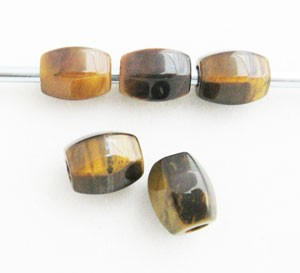 10mm Tiger Eye Faceted Barrels (5 Beads)