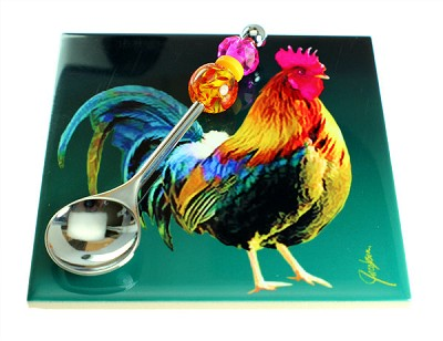 Rooster Ceramic Trivet & Spoon - (1 Set)