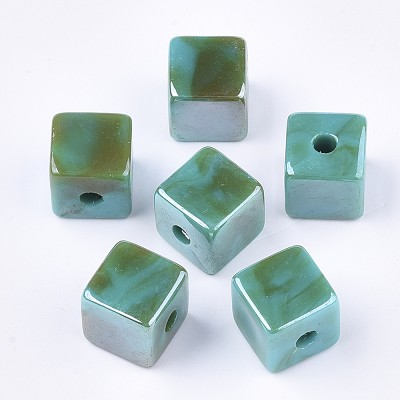 12.5 Green Turquoise Marble Acrylic Cube - (5 Beads)