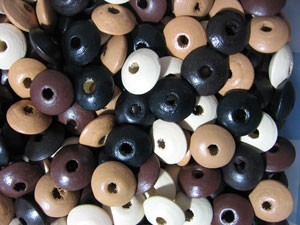 Puffy  Wooden Disk - (8 Beads)